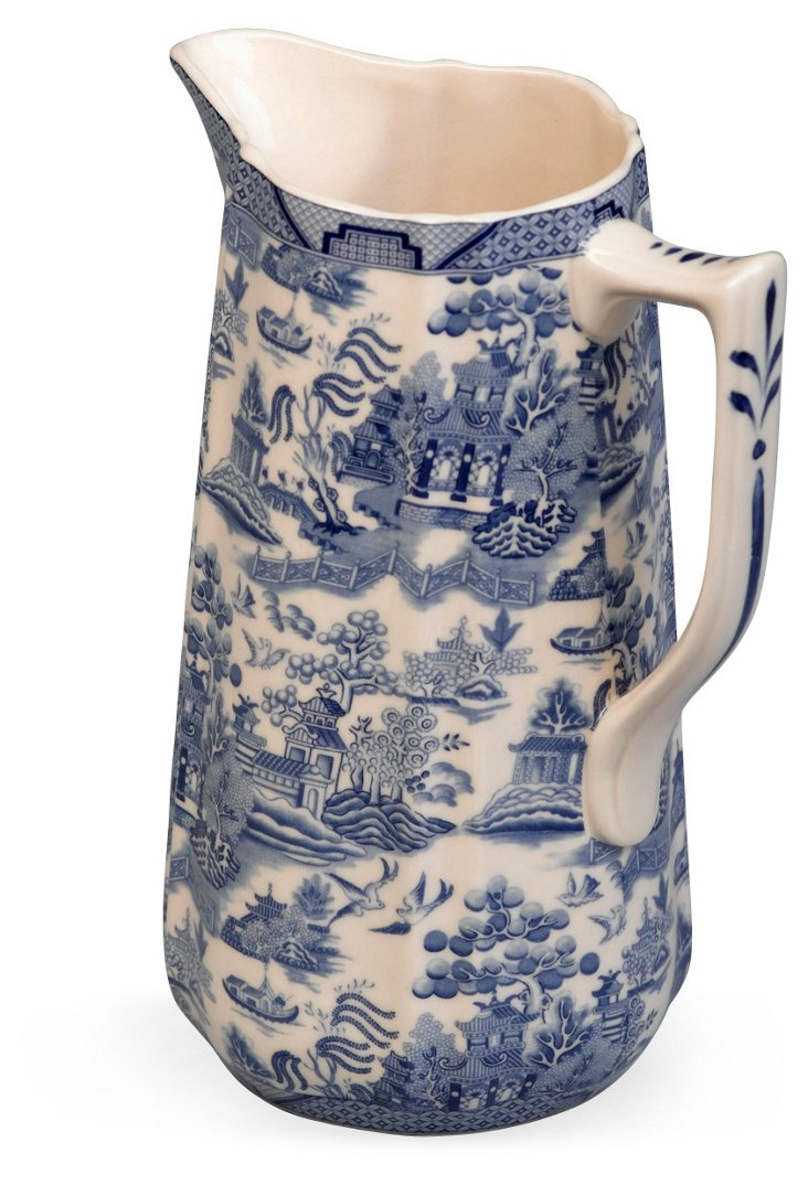 "9"" Florentin Pitcher, Blue/White"
