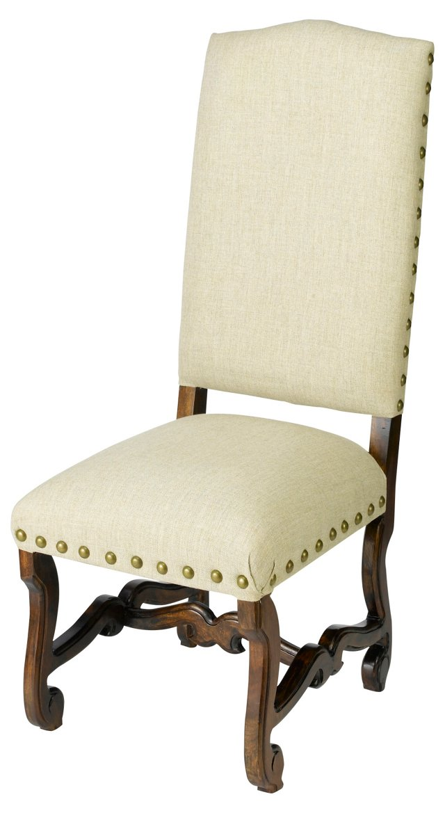 Harrison Side Chair, Linen/Walnut