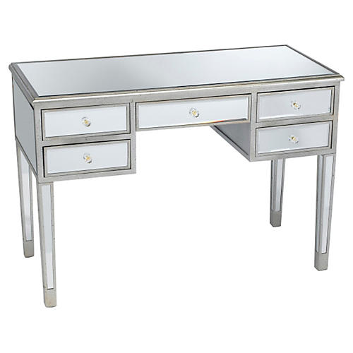 Picabo Mirrored Desk, Silver/Gold