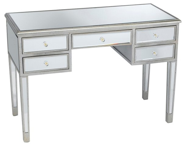 Picabo Mirrored Desk Silver Gold Desks Office Furniture One Kings Lane