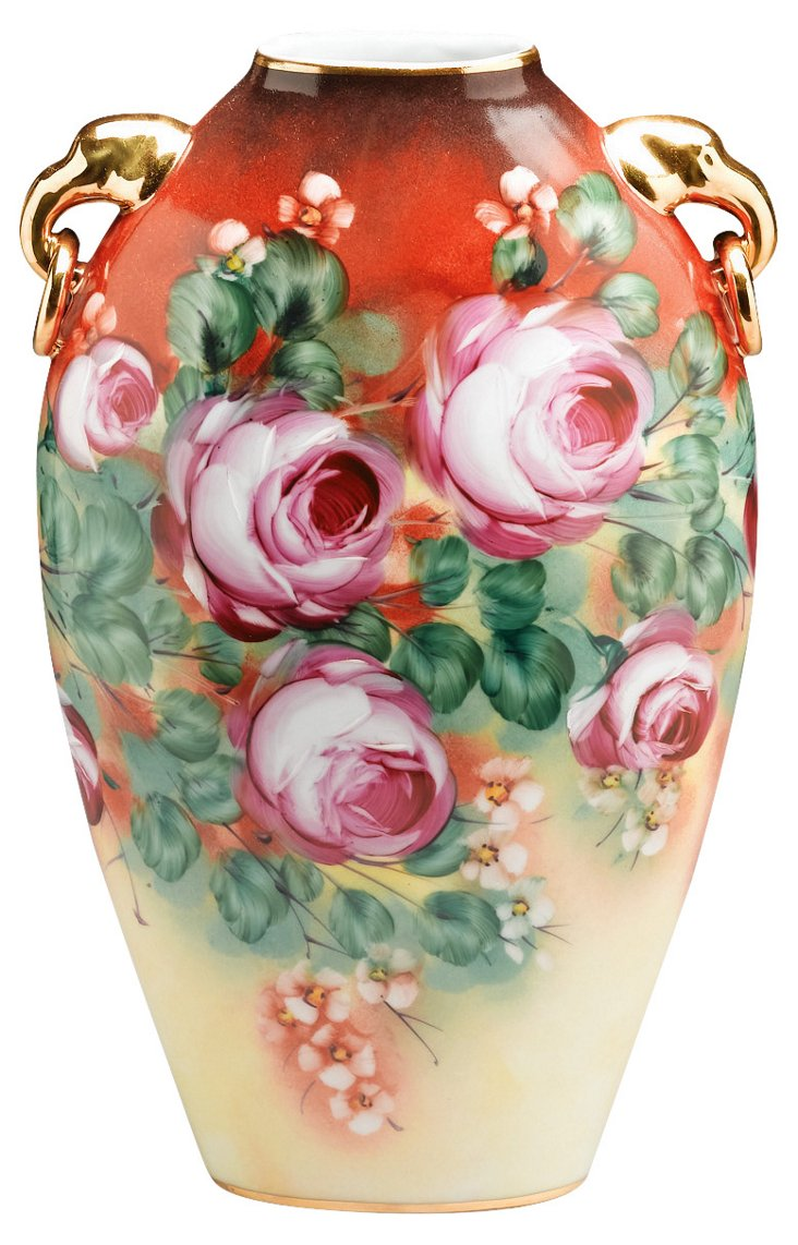 "14"" Hand-Painted Blooming Vase, Red/Gold"