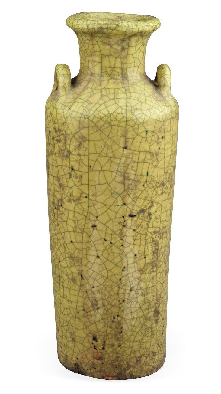 "17"" Ruins Vase, Yellow"