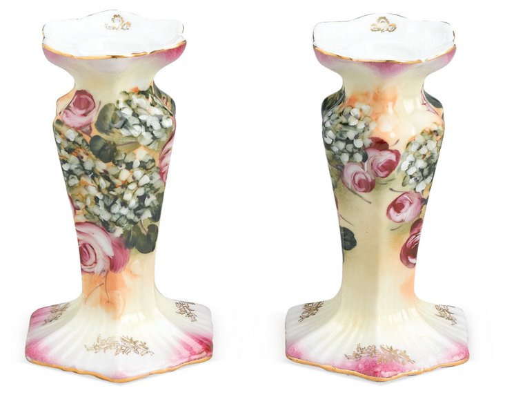S/2 Painted Candlesticks, Pink