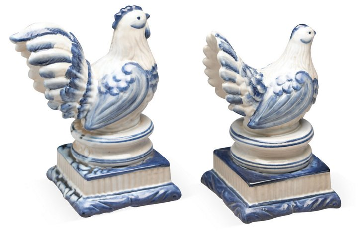 Asst. of 2 Hen Objets, Blue and White