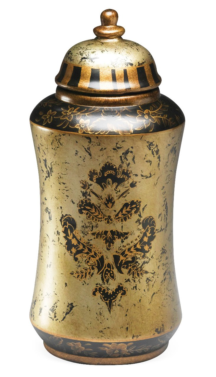 "18"" Decorative Jar with Lid, Gold"