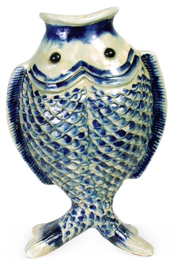 15x10 Dual Fish Vase, Blue