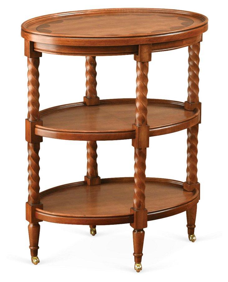 Cutler Oval Side Table, Light Cherry
