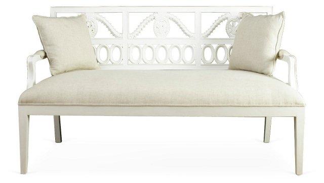 Julian Cotton Bench, Beige/White