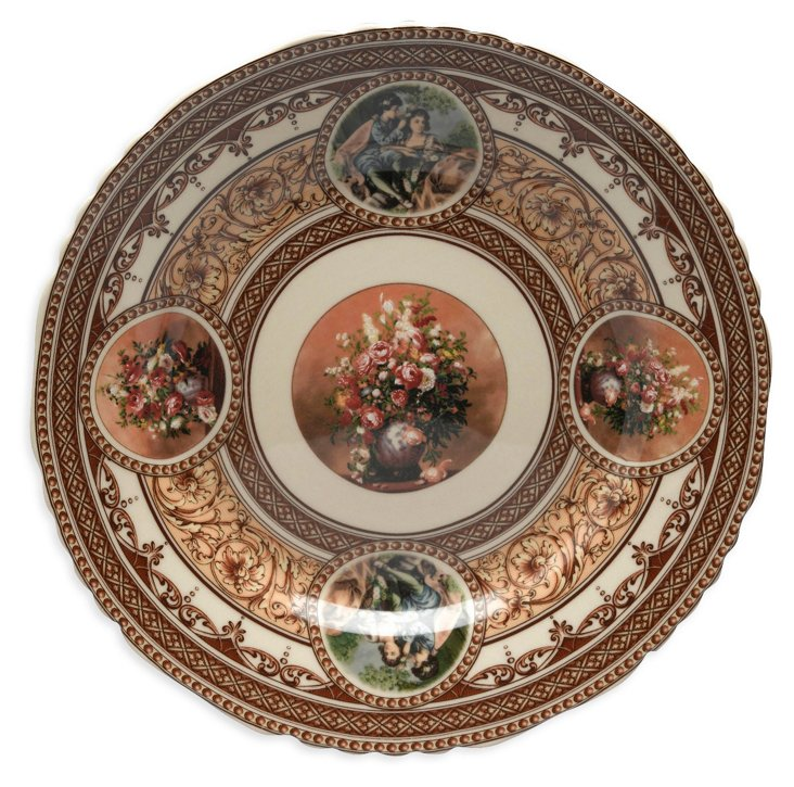 Floral and Romance Scene Plate