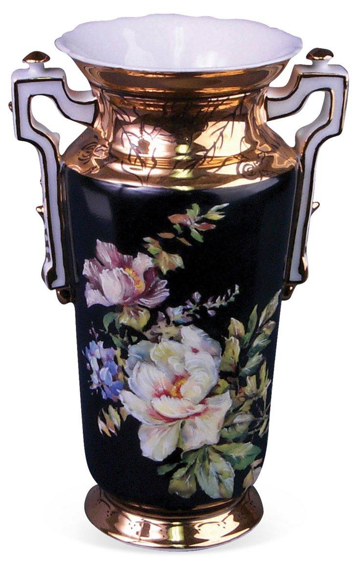 Gold & Black Floral Vase