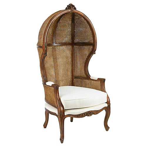 Eliza Canopy Chair, Walnut/Natural Linen