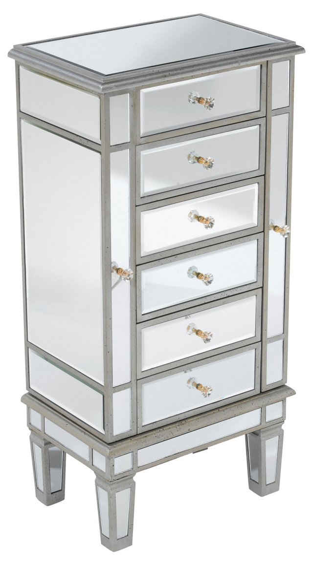 Kat Mirrored Jewelry Cabinet, Silver