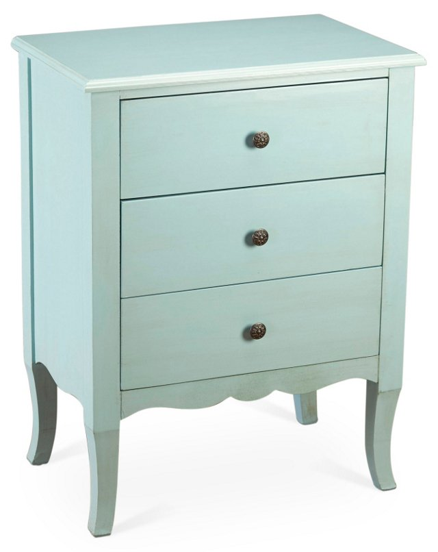 Hope 3-Drawer Nightstand, Light Blue