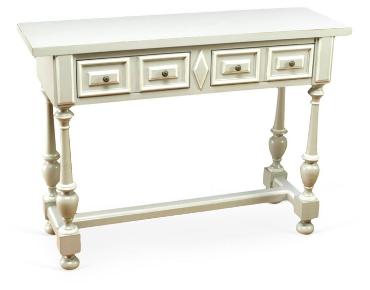 Amelia 2-Drawer Console, Moon Gray