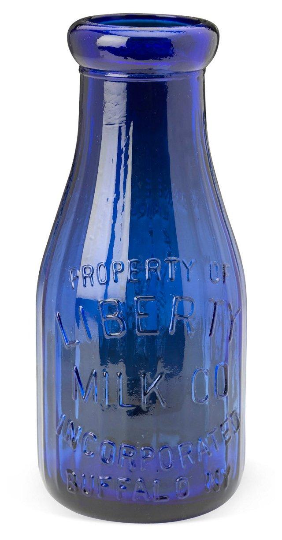 "8"" Glass Milk Bottle, Blue"