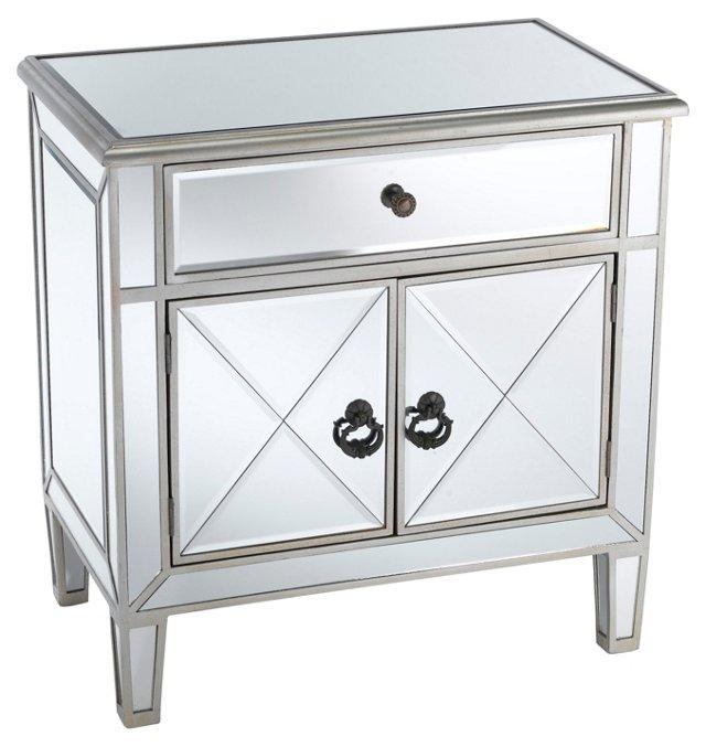 Amanda Mirrored Cabinet, Silver