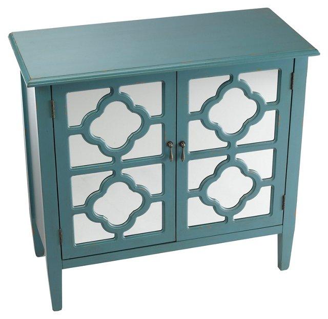 Sayre 2-Door Mirrored Cabinet, Blue