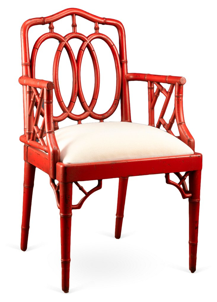 Bamboo Armchair, Red