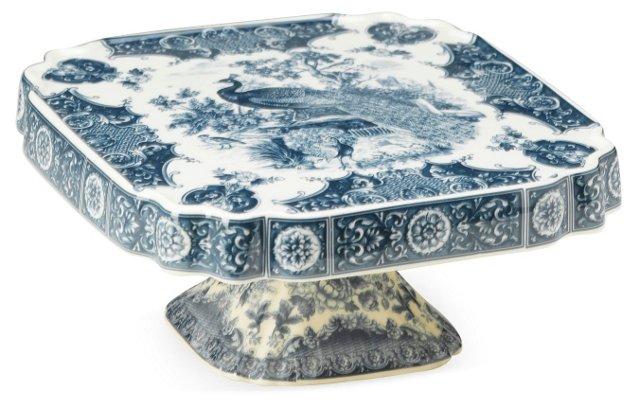 "9"" Peacock Design Tray, Blue/White"