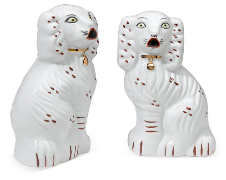 S/2 Staffordshire Dogs, White
