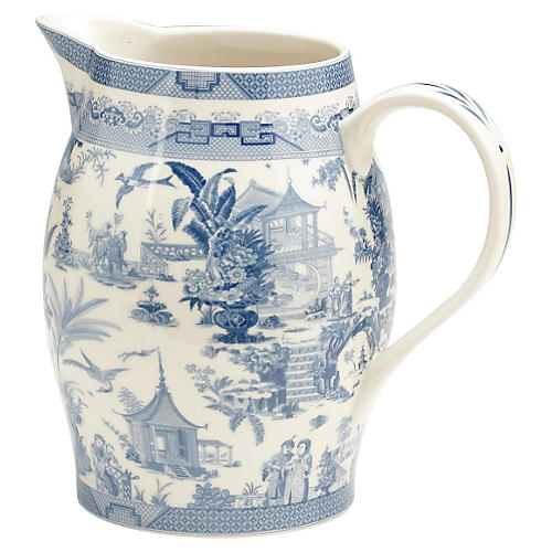 "8"" Chinoiserie Capital Pitcher, Blue"