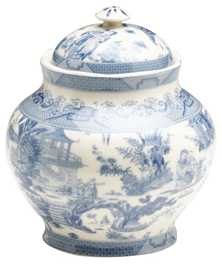 "6"" Transferware Jar, Blue/White"