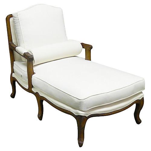 Tusten Mahogany Linen Chaise, White