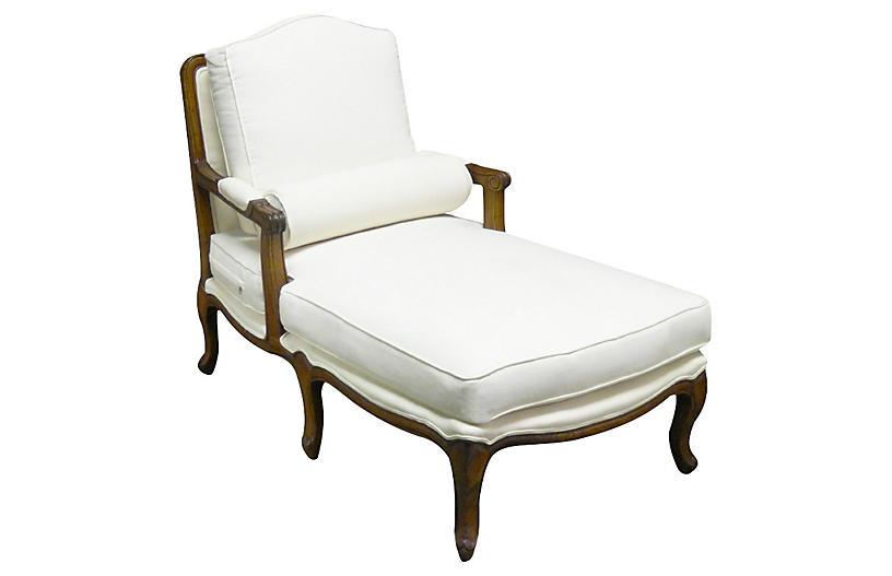 Tusten Mahogany Linen Chaise - White