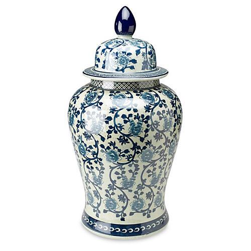 """24"""" Vine Ginger Jar, Blue/White"""