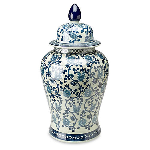 "24"" Vine Ginger Jar, Blue/White"