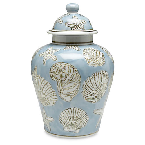 "10"" Seashell Ginger Jar, Blue/White"