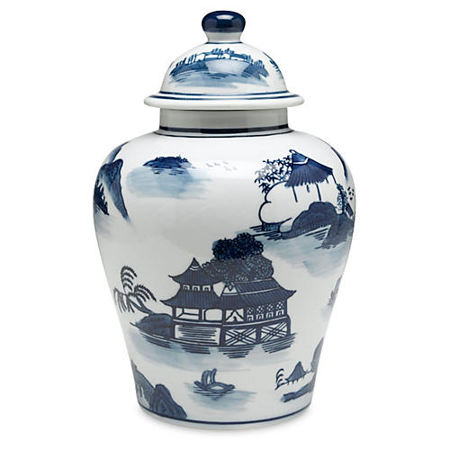 "10"" Lavieille Ginger Jar, Blue/White"