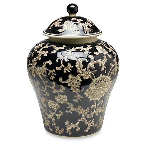 "14"" Florent Ginger Jar, Black/Cream"