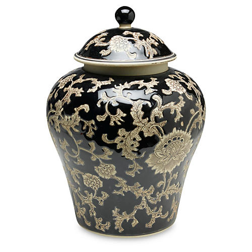 "14"" Florent Ginger Jar, Black/Cream"