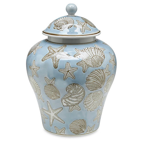"14"" Seashell Ginger Jar, Blue/White"