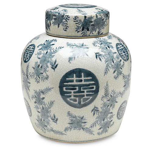 "9"" Bazille Jar, Blue/White"