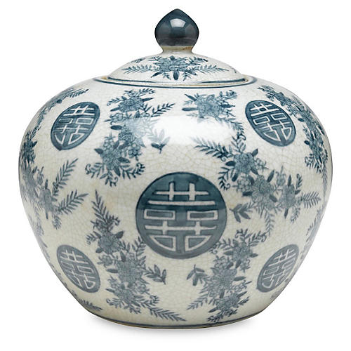 "8"" Bazille Round Jar, Blue/White"
