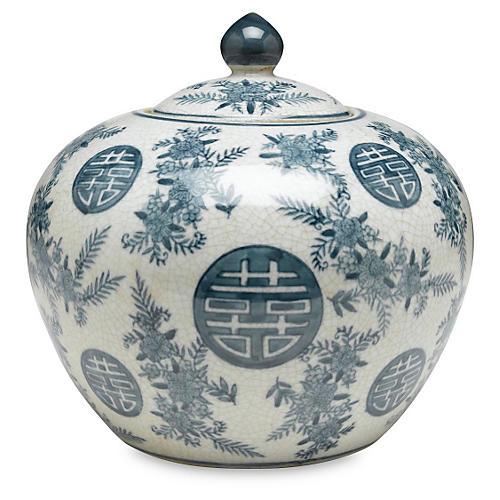"""8"""" Bazille Round Jar, Blue/White"""