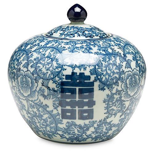 """8"""" Jolie Round Jar, Blue/White"""