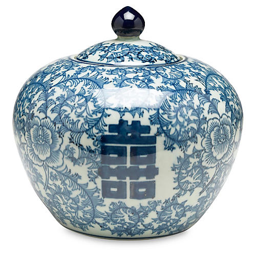 "8"" Jolie Round Jar, Blue/White"