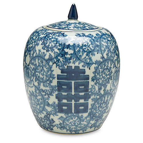 "10"" Lancret Jar, Blue/White"