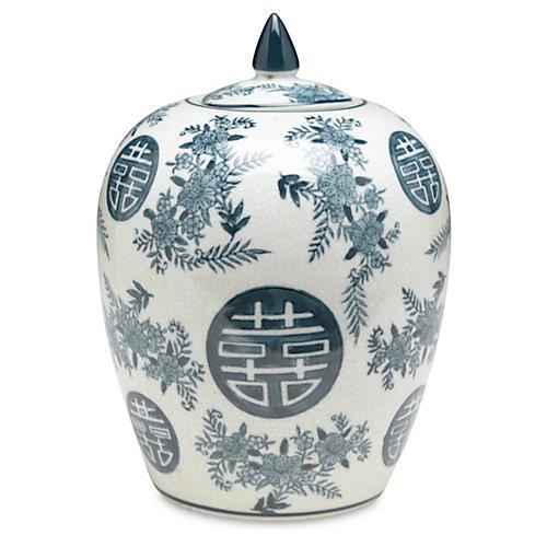 """8"""" Crackle Finish Jar, Blue/White"""