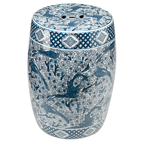 "18"" Garden Stool, Blue/White"