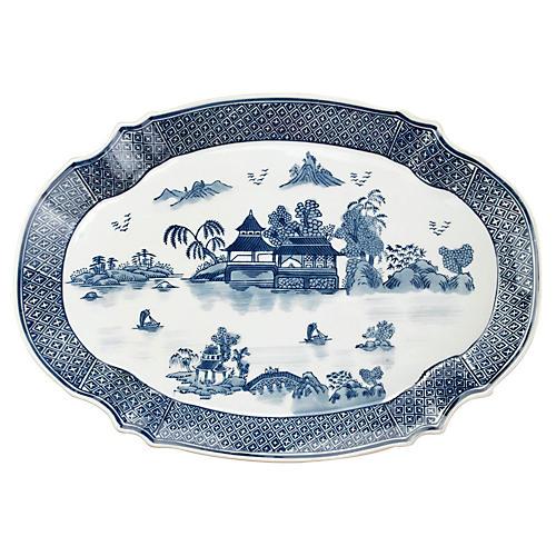 """19"""" Willow Platter, Blue/White"""