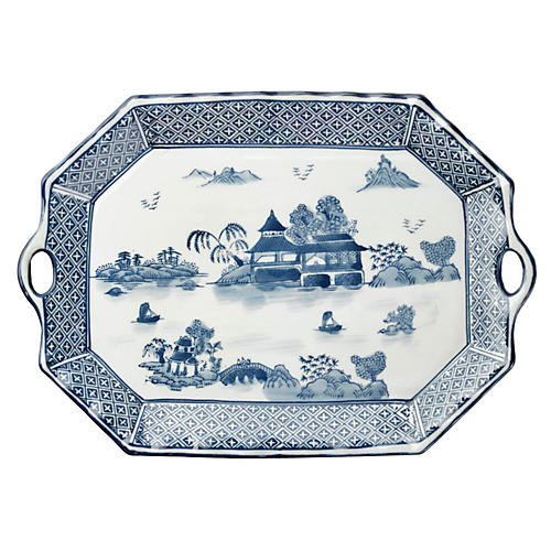"19"" Handled Willow Platter, Blue/White"
