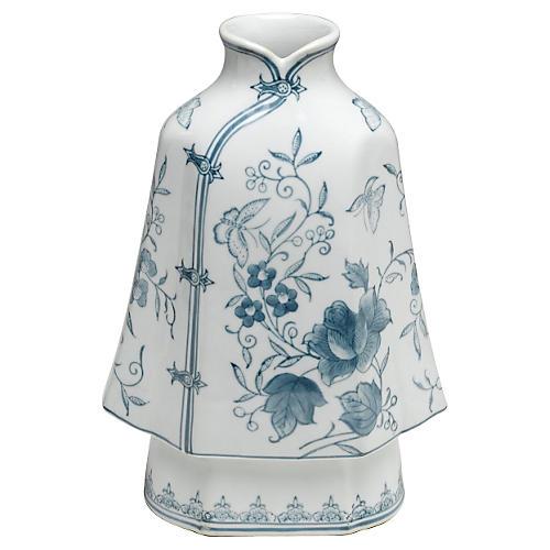"""12"""" Floral Kimono Vase, Blue/White"""