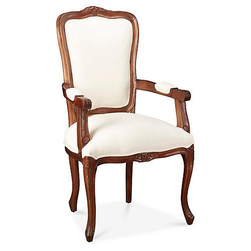 Lilla Wicker Armchair, Linen Seat