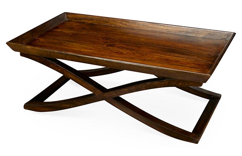 Vesper X-Base Coffee Table, Dark Pecan
