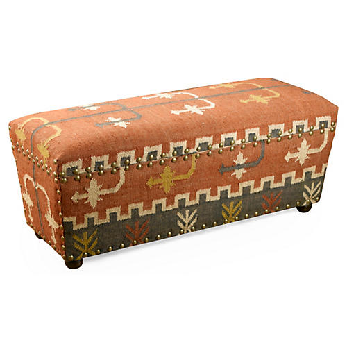Desi Kilim Bench, Orange/Multi