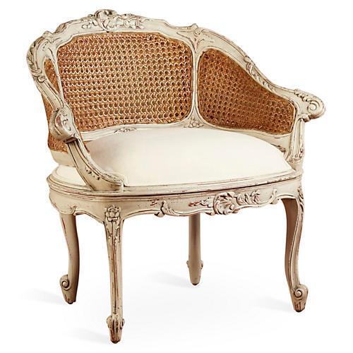 Wicker-Back Slipper Chair, Linen Seat